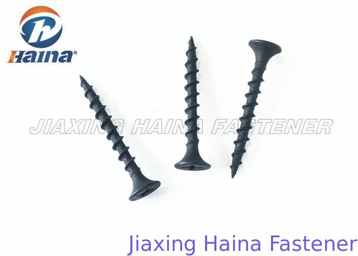 Black Phosphate Self Drilling Concrete Screws , Fine Thread Drywall Screw Bugle Head